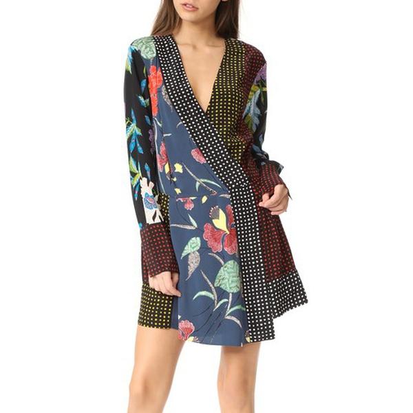 Diane von Furstenberg Patchwork Cross Over Dress | evaChic