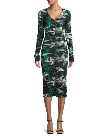 Diane von Furstenberg Long-Sleeve V-Neck Ruched Mesh Midi Dress