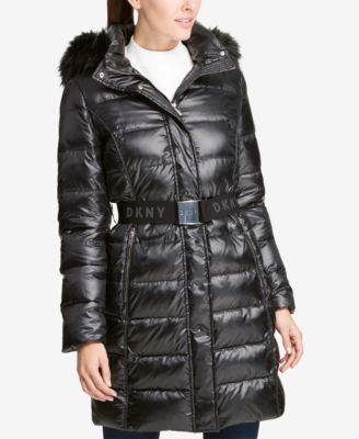 DKNY Faux-Fur-Trim Belted Puffer Coat, Created for Macy's - Coats