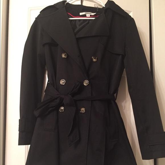 Dkny Jackets & Coats | Likenew Black Rain Coat | Poshmark