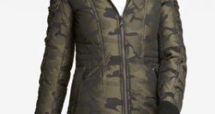 DKNY Faux-Fur-Trim Camo-Print Parka, Created for Macy's - Coats