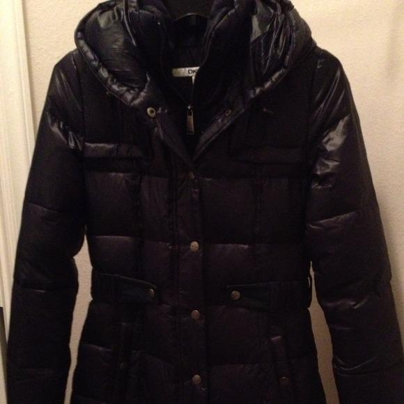 DKNY Jackets & Coats | Xs Black Long Puffer Jacket With Waist Belt