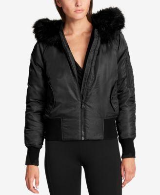 DKNY Faux-Fur-Trim Down Bomber Jacket - Coats - Women - Macy's