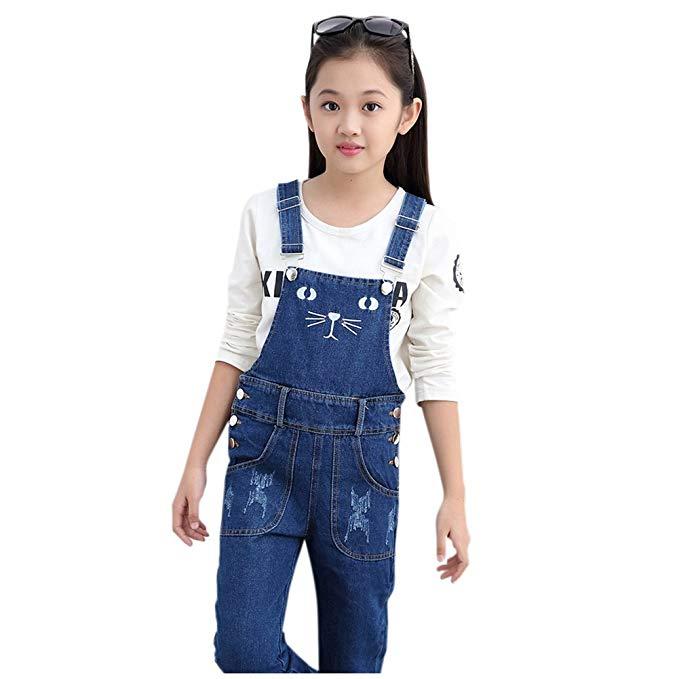 Amazon.com: Girls Overalls Denim Jeans Cat Pattern Pants Kids