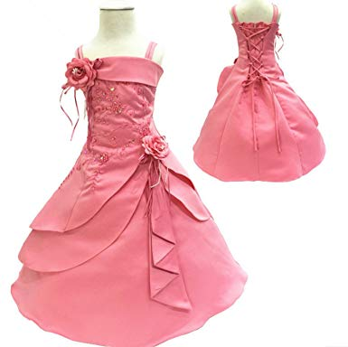 Amazon.com: Flower Girl Dresses Kids Embroidery Satin Beaded Long