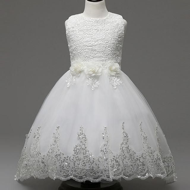 girls dresses for children clothing kids flower baby white dress