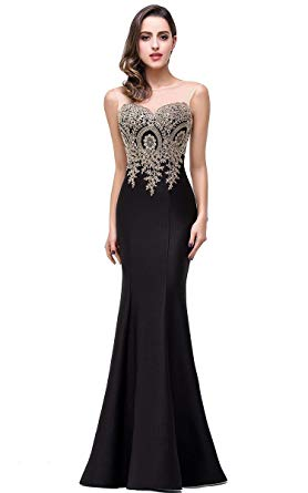Babyonline Mermaid Evening Dress for Women Formal Lace Appliques
