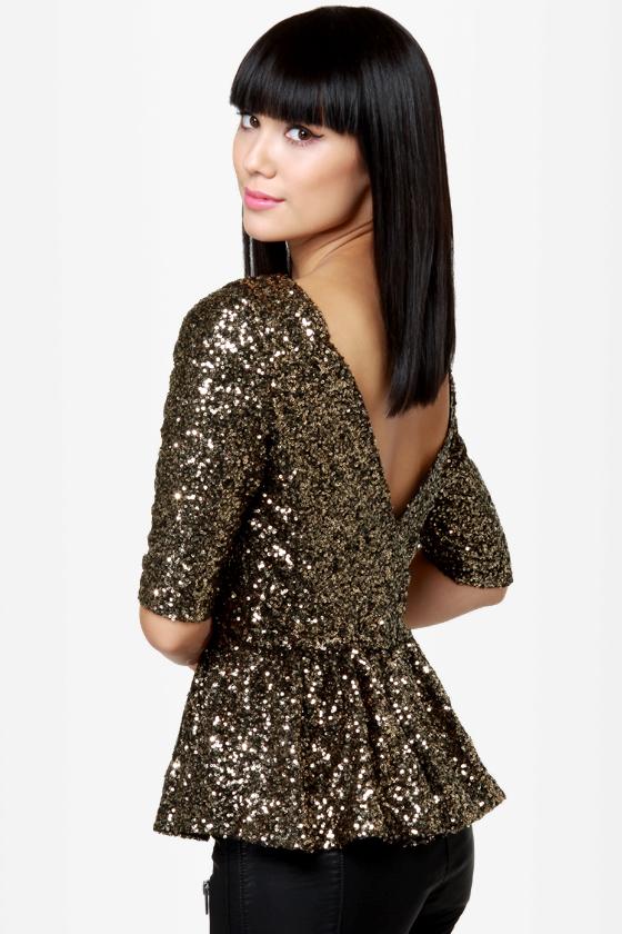 Dressy Sequin Top - Gold Top - Peplum Top - Backless Top - $56.00