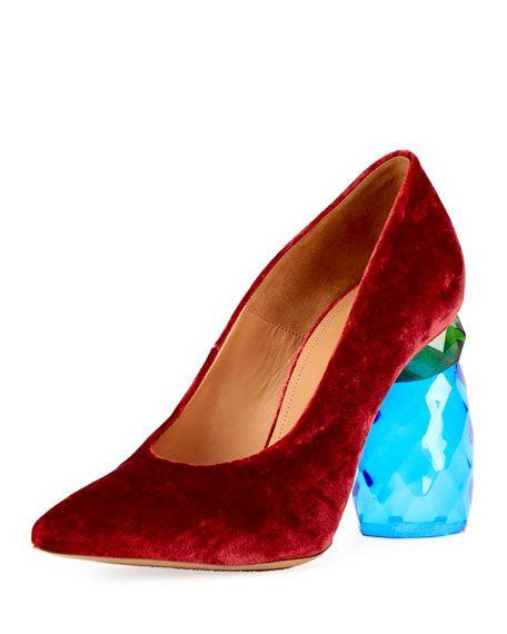 DRIES VAN NOTEN Velvet Lucite-Heel Pump, Red. #driesvannoten #shoes