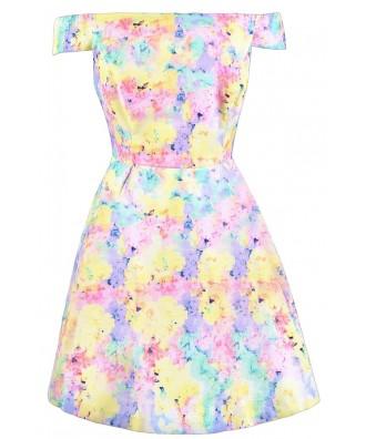 Cute Easter Dress, Pastel Summer Dress, Watercolor Pastel Dress