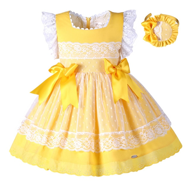 Pettigirl New Girls Easter Dress Summer Yellow Cotton Kids Dress