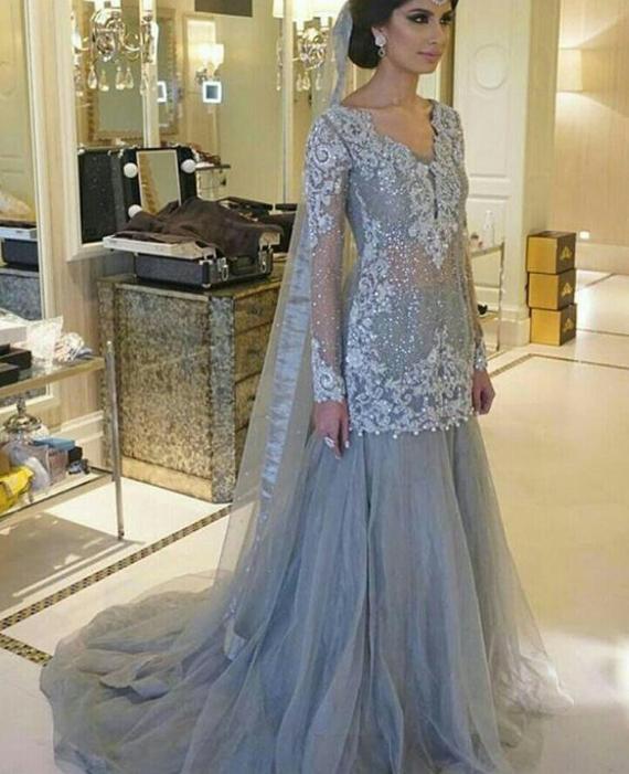Pakistani Engagement Formal Dress Elan Inspired Silver | Etsy