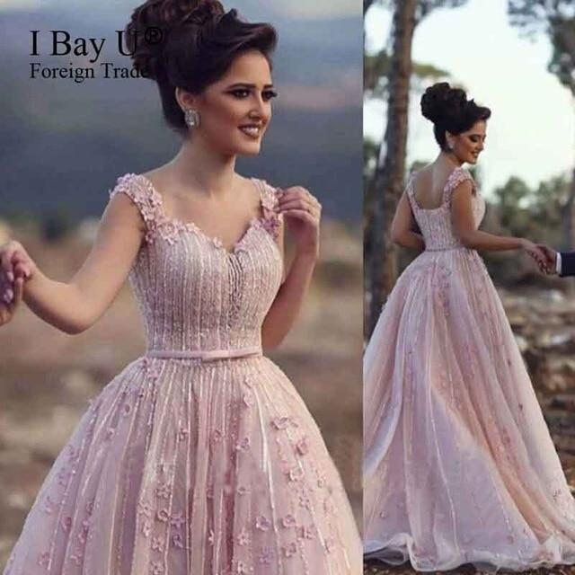 Cute Pink Stunning A Line Evening Dress Sequins Lace Arabic Girl