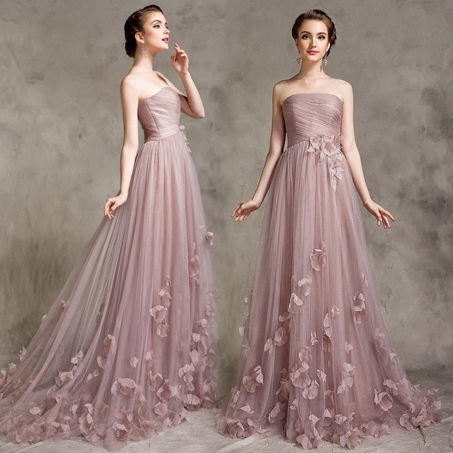 Couture Strapless Applique Flower Tulle Long Evening Dresses 2017