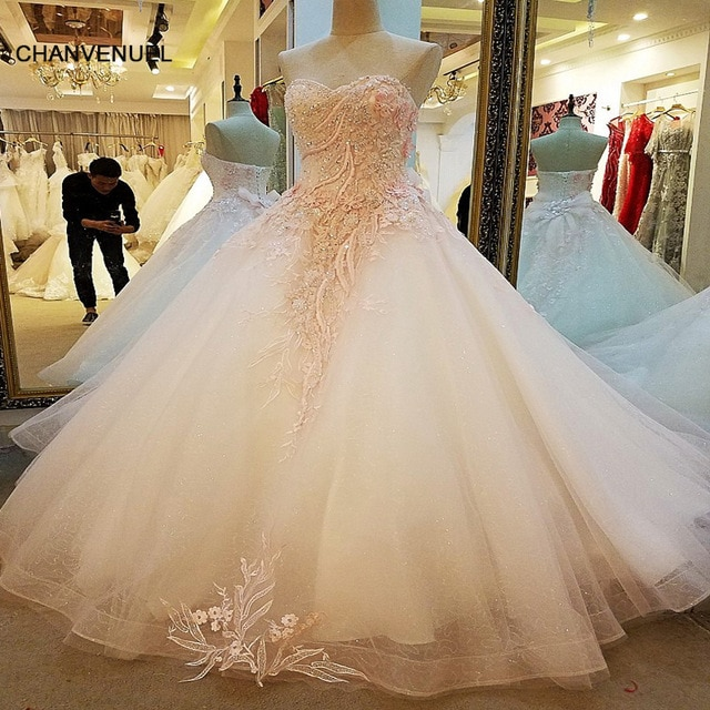 LS30547 Engagement Dresses Lace Up Back Ball Gown Lace Long Pink