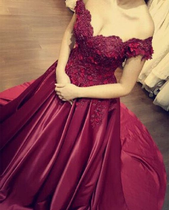 Burgundy Prom Dresses,Burgundy Ball Gown,Burgundy Evening Dress