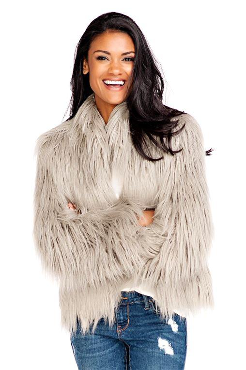 Grey Tibetan Lamb Fashionista Faux Fur Jacket   Womens Faux Fur