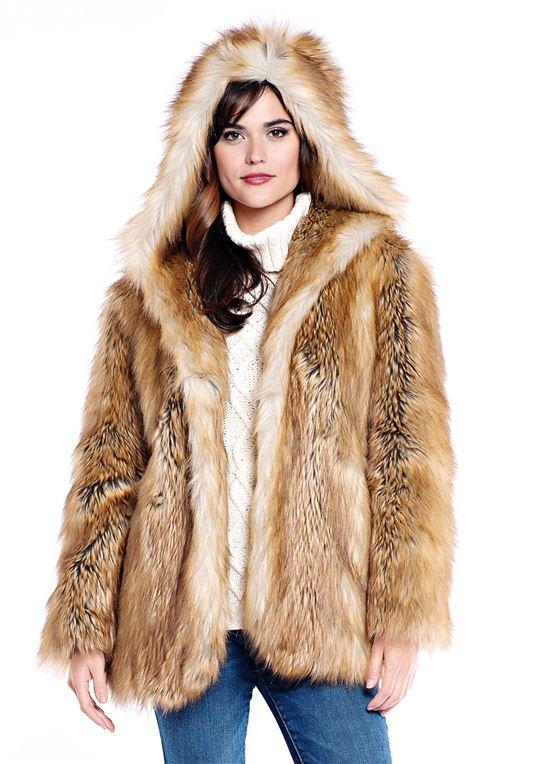 Gold Fox Hooded Faux Fur Jacket   Womens Faux Fur Jackets - Donna