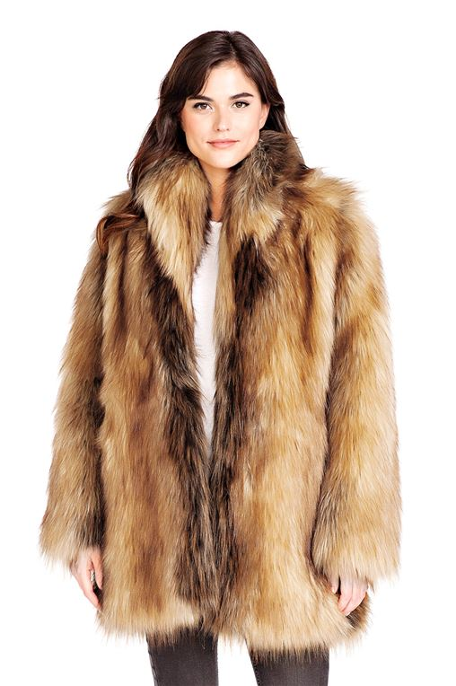 Red Fox Shawl Collar Faux Fur Jacket   Womens Faux Fur Shawls