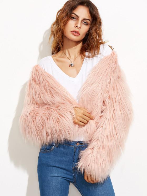 Pink Collarless Faux Fur Coat   MakeMeChic.COM