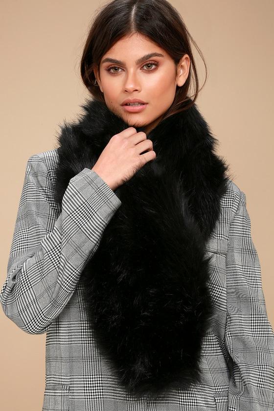 Chic Black Scarf - Satin and Faux Fur Scarf - Black Faux Fur