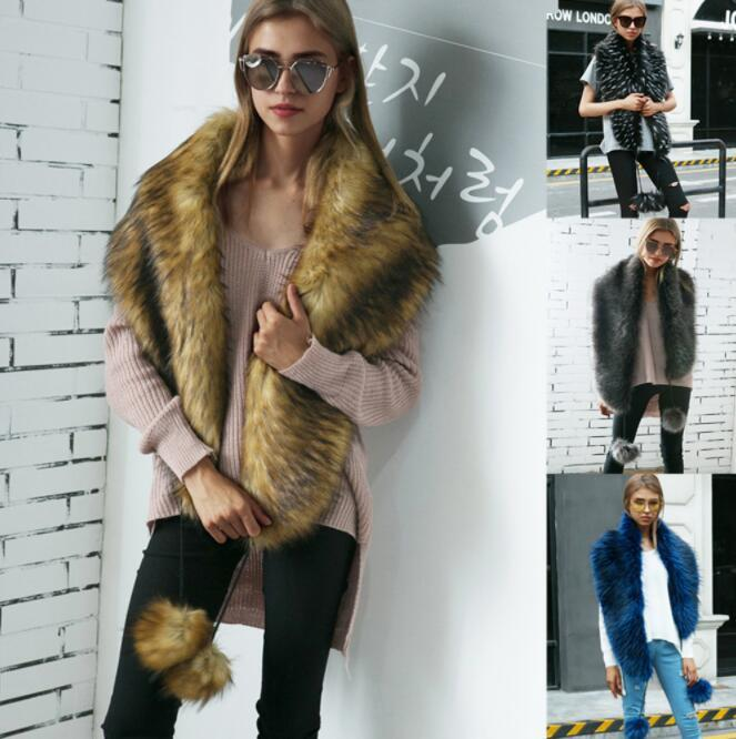 2019 Faux Fox Fur Scarves With Faux Fur Color Warm Collar Fur Collar
