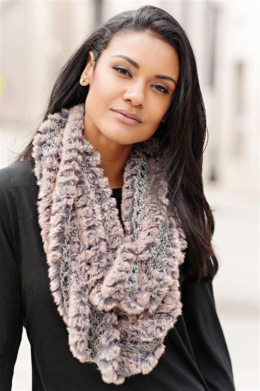 Eternity Natural Knit Faux Fur Scarf | Womens Faux Fur Scarves