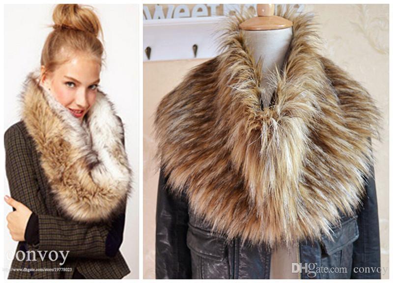 Womens Winter Warm Faux Fur Fake Fur Scarf Sharves Fake Collar Scarf