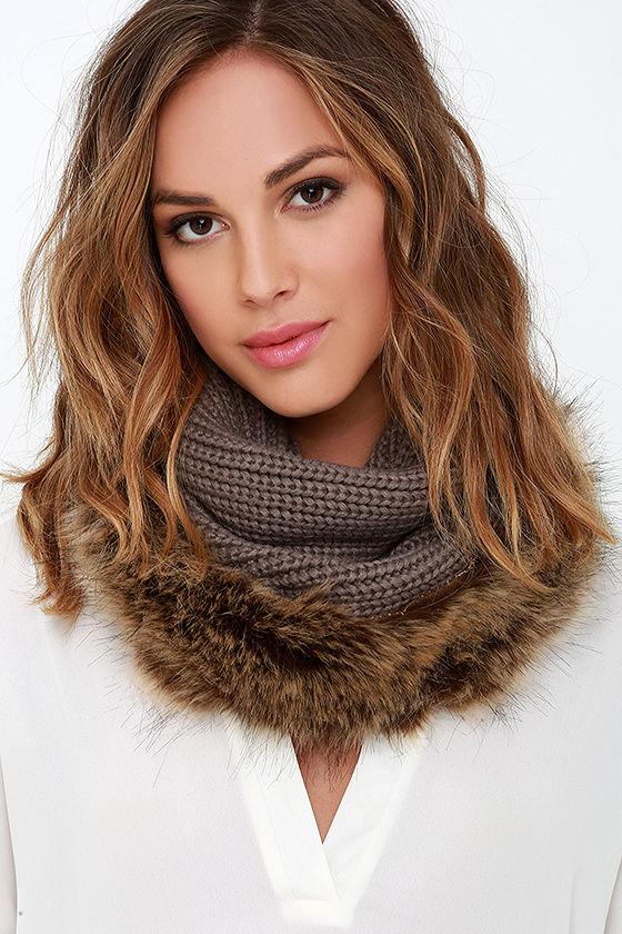 Cozy Taupe Scarf - Faux Fur Scarf - Infinity Scarf - Knit Scarf - $20.00
