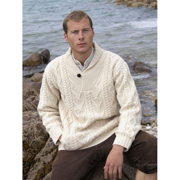 Aran Shawl Neck Fisherman Sweater | Irish Central Shop