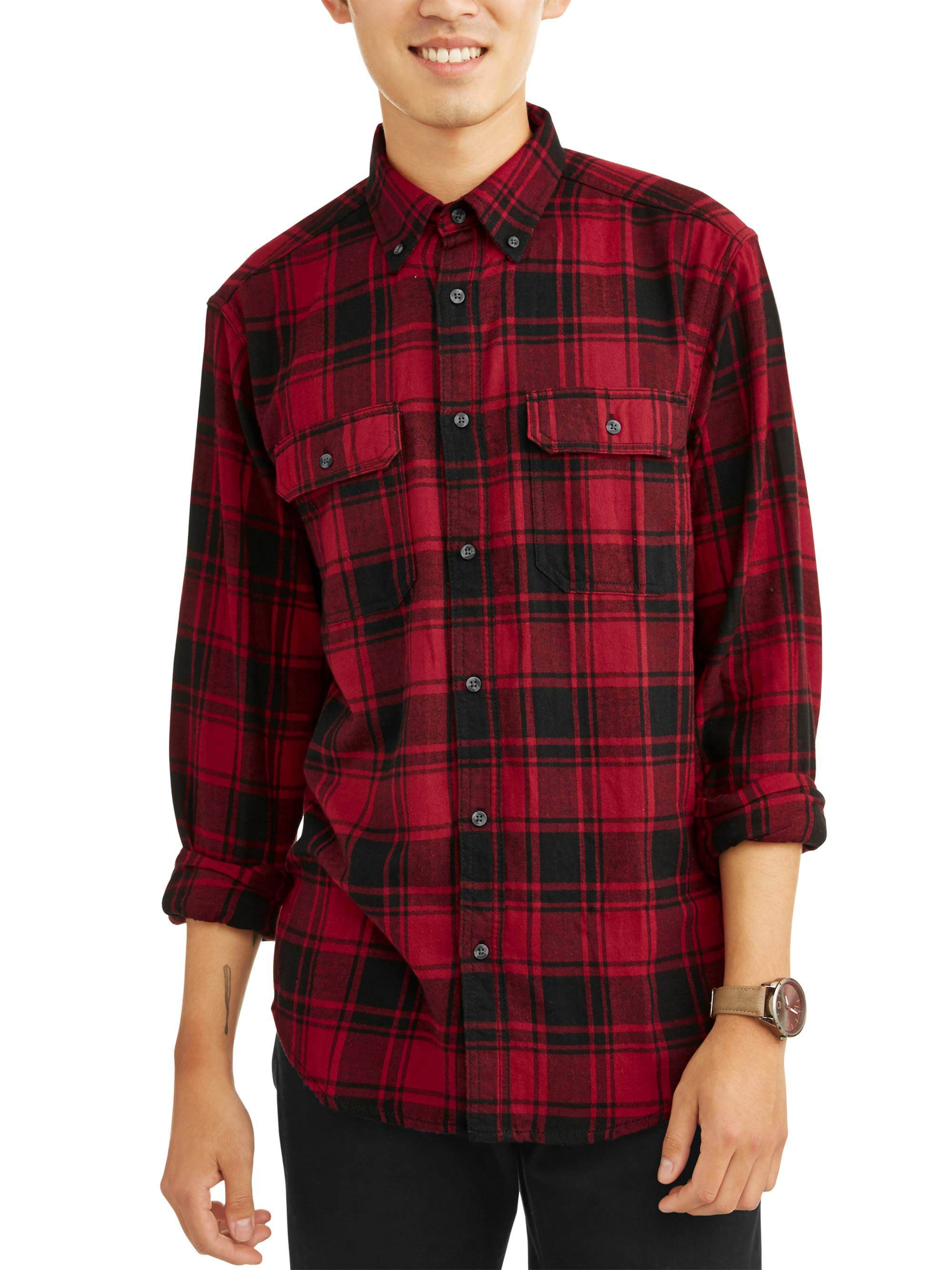George - George Men's and Big & Tall Long Sleeve Flannel Shirt, up