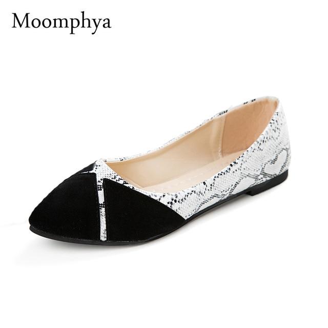 Moomphya Brand Ladies Flat Shoes Women Flats Black Casual Shoes