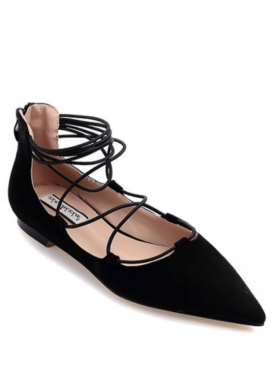 37% OFF] 2019 Black Criss-Cross Pointed Toe Flat Shoes In BLACK 39