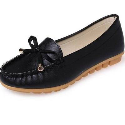 Women Casual flat shoes flat heel genuine leather shoes (ebsku9)