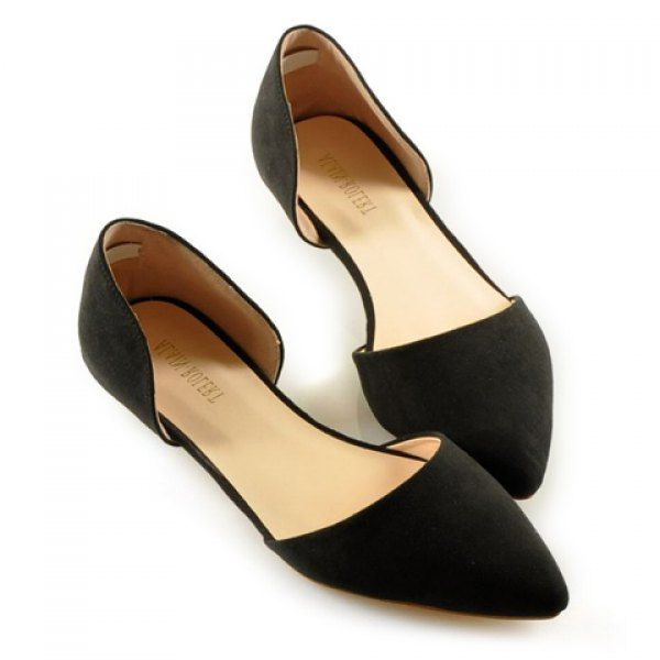 Simple Solid Color and Stitching Design Flat Shoes For Women, BLACK