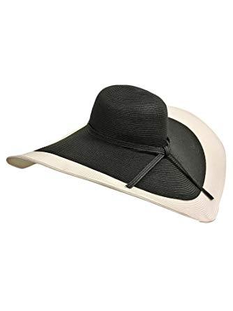Luxury Divas Black & White Floppy Hat With Wide Brim at Amazon