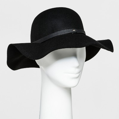Women's Faux Leather Band Felt Floppy Hat - A New Day™ Black : Target