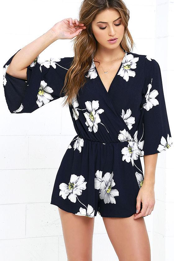 Cute Navy Blue Romper - Floral Print Romper - $46.00