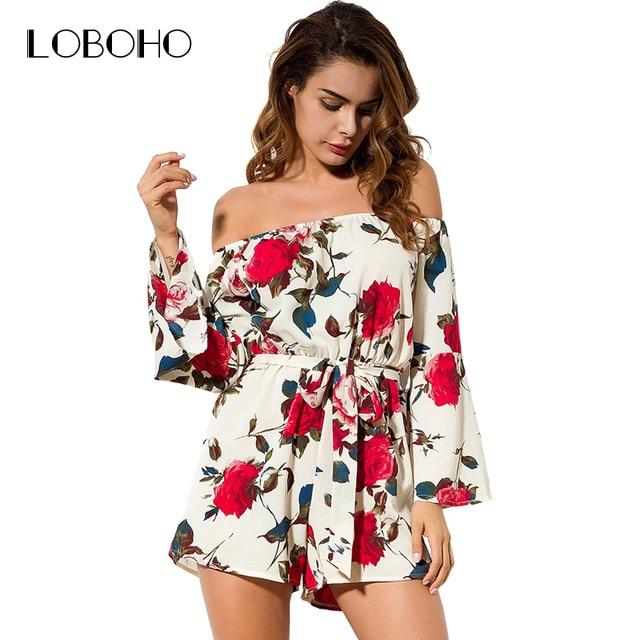 Off Shoulder Rompers Womens Jumpsuit Summer 2018 Fashion Floral