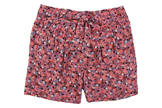 Free People Women's Pink Blue Floral Self-Tie Belt Pleated Shorts at