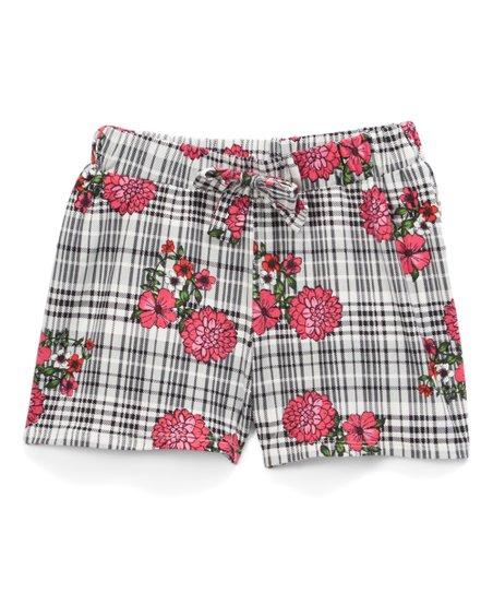Insta Girl Black & Fuchsia Floral Shorts - Girls | Zulily