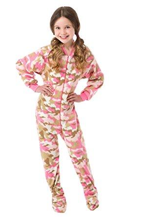 Amazon.com: Big Feet Pjs Big Girls Pink Camo Kids Footed Pajamas
