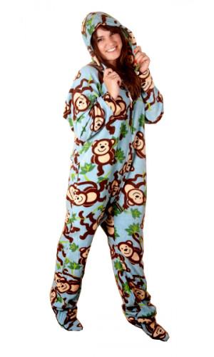 Monkeys Deluxe Adult Onesies, Footed Pajamas, Onesie Footie PJs