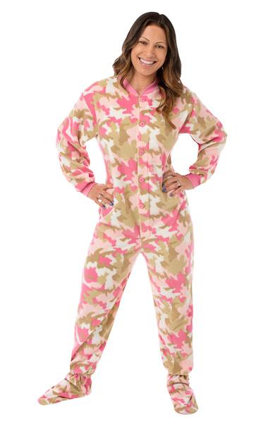 Pink Camouflage Micro-Polar Fleece Adult Footed Pajamas: Big Feet