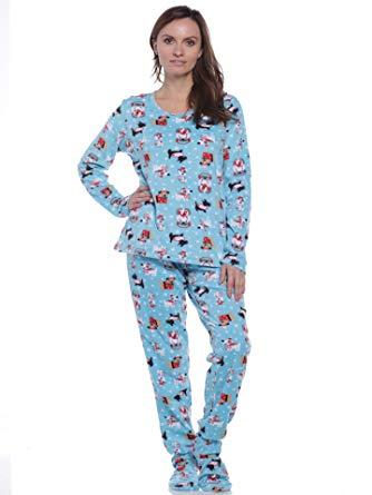 Pillow Talk Women's Fleece Footed Pajamas at Amazon Women's Clothing