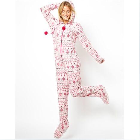 2014 Autumn Hooded & Footed Pajamas Women Adult Pink Pajamas Warm