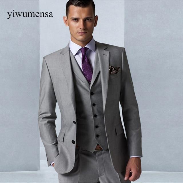 Custom Made Gray men wedding dress 2018 Tuxedo Groom Formal Suit