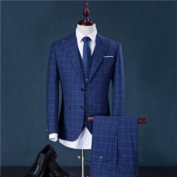 Fashion (jacket+pants+vest) Men Suits Man Business Formal Suit With