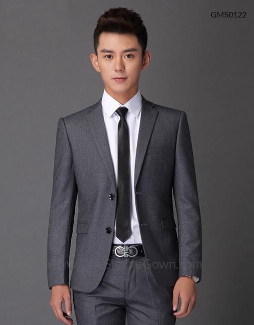 Men's Gray 2 pcs Formal Wear Blazer and Pant - OneSimpleGown.com