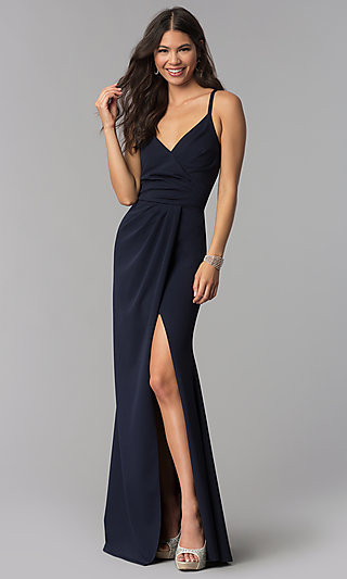 Faux-Wrap Long V-Neck Formal Dress with Ruching